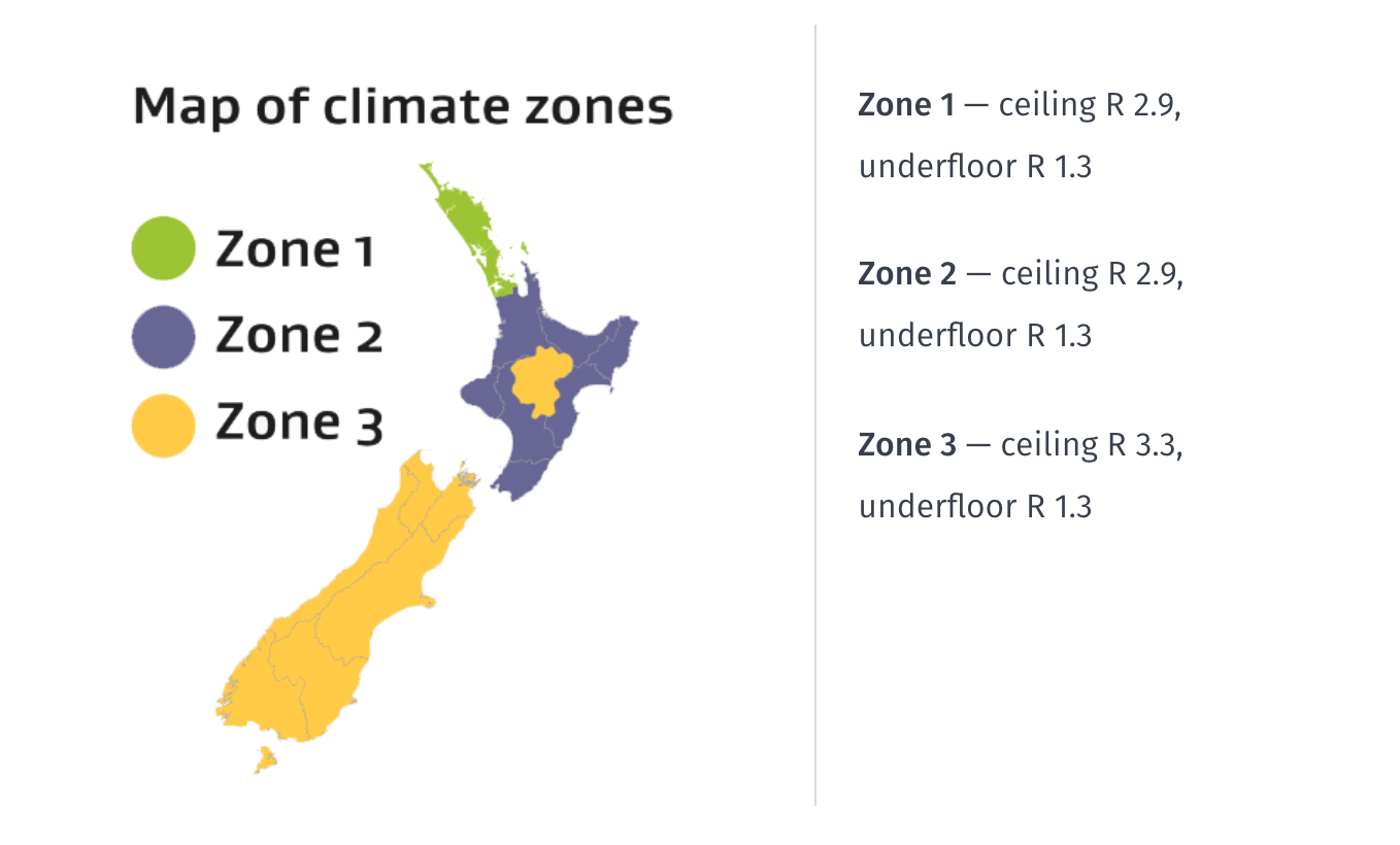 Healthy homes insulation map of climate zones