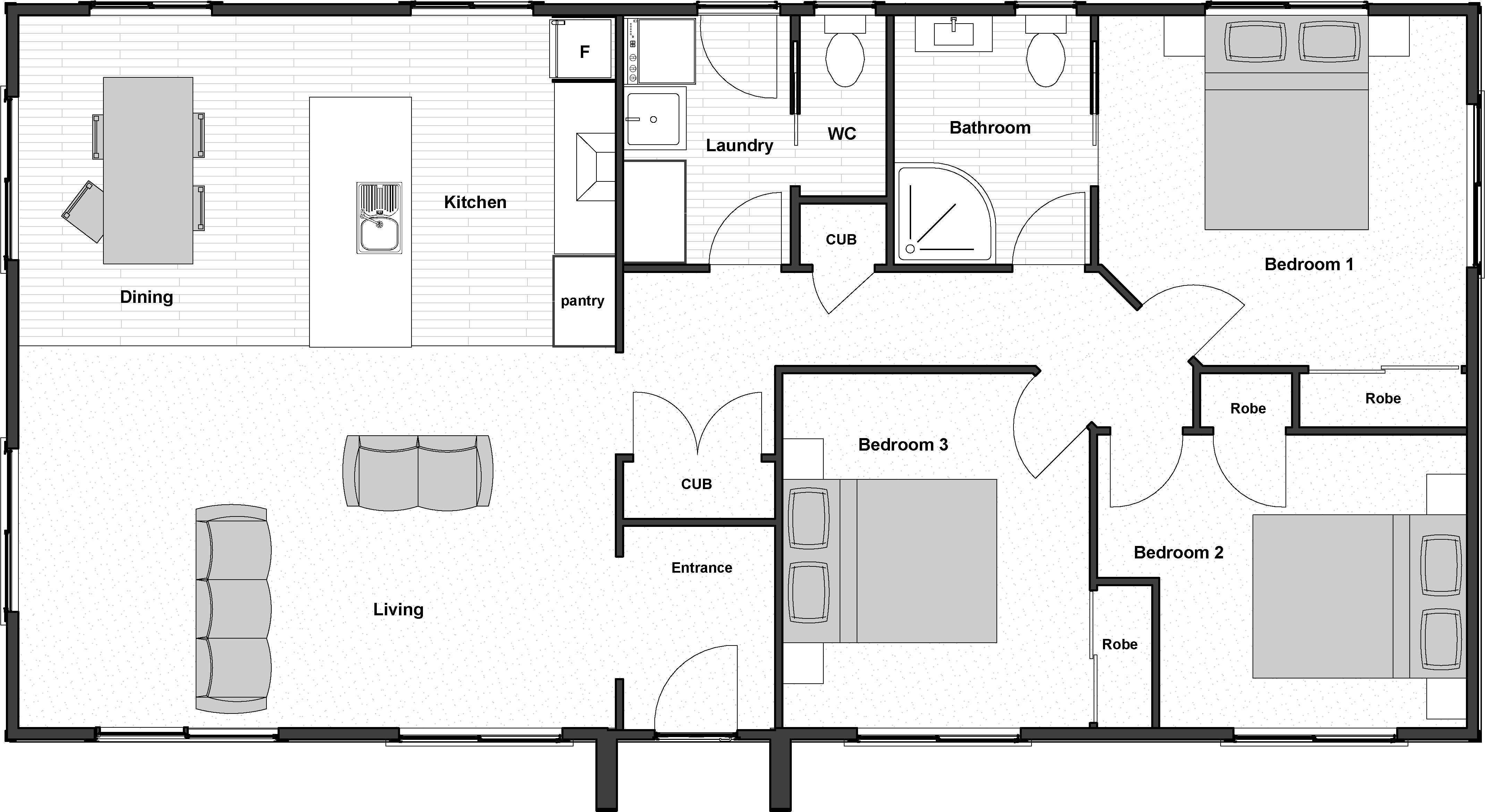 3 bedroom prefab house floorplan
