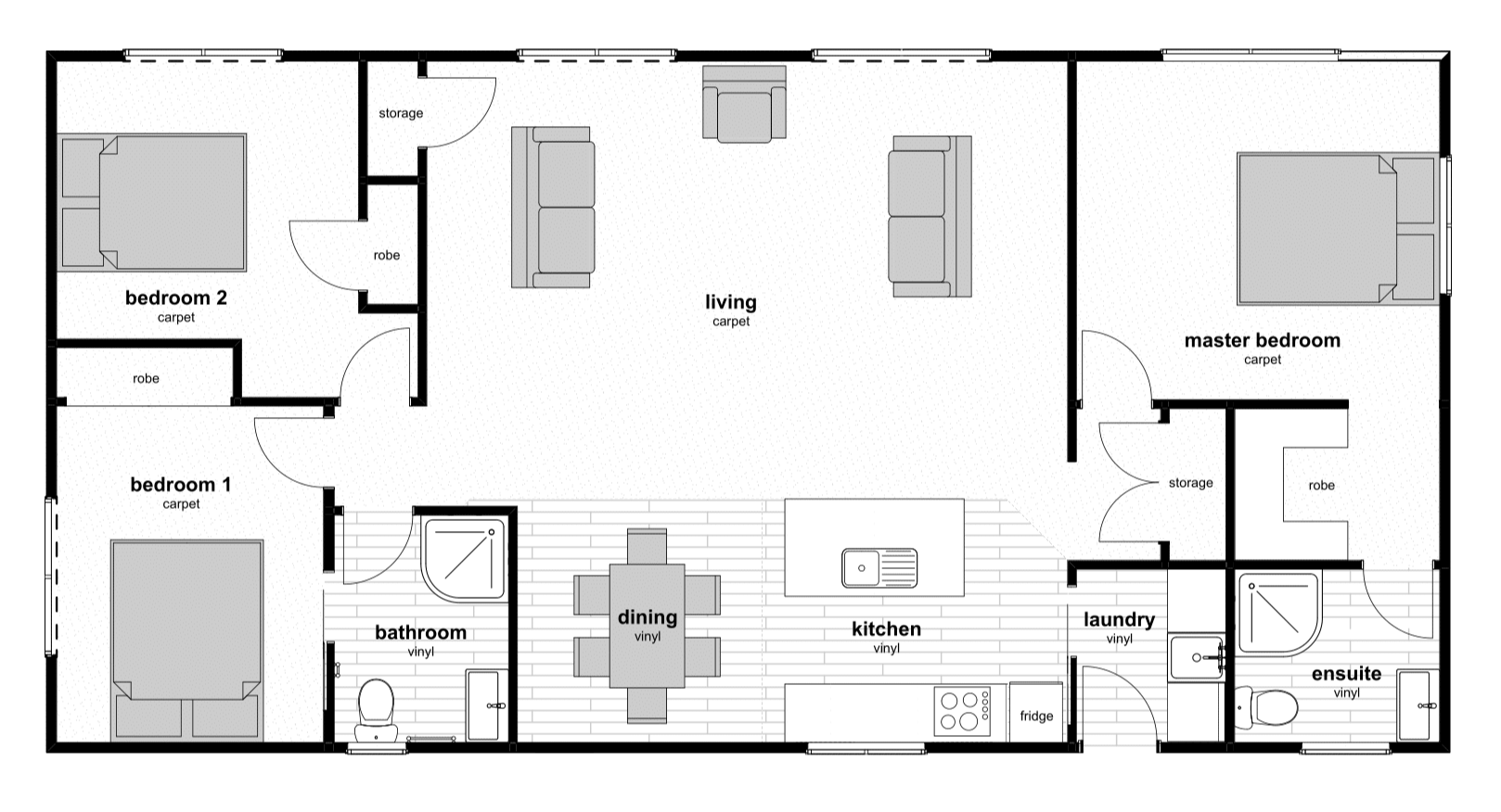 3 bedroom prefab house floorplan